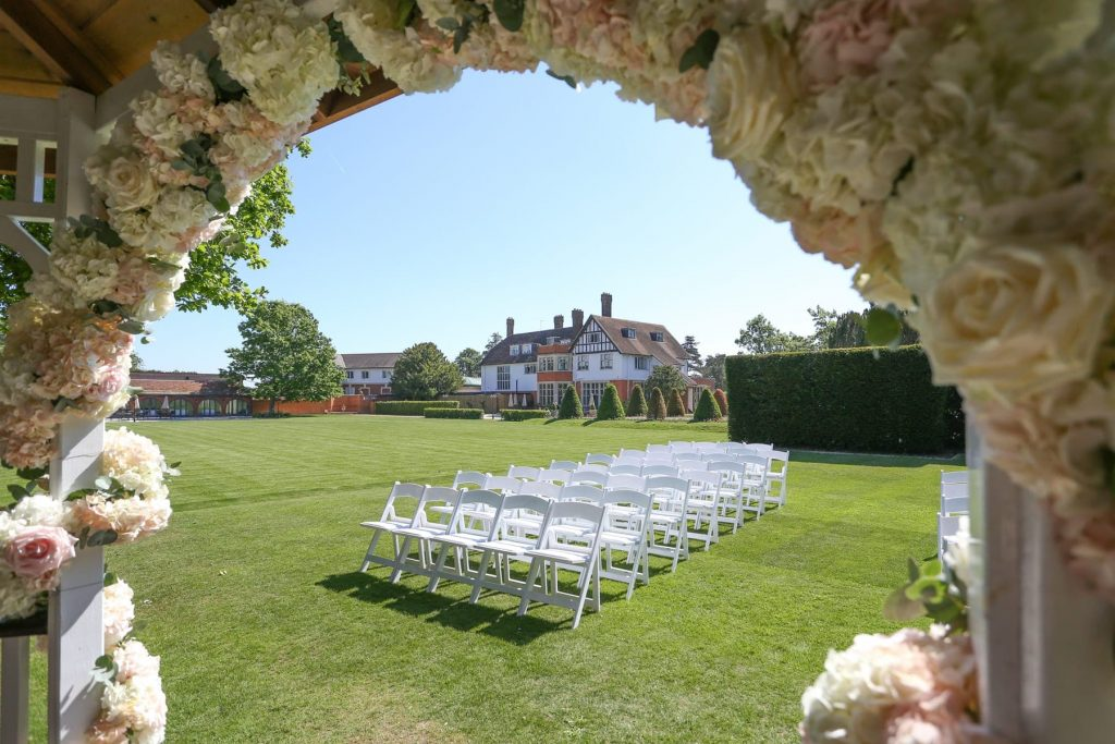wedding garden set for wedding event at Greenwoods Essex Country Hotel and spa, wedding venue