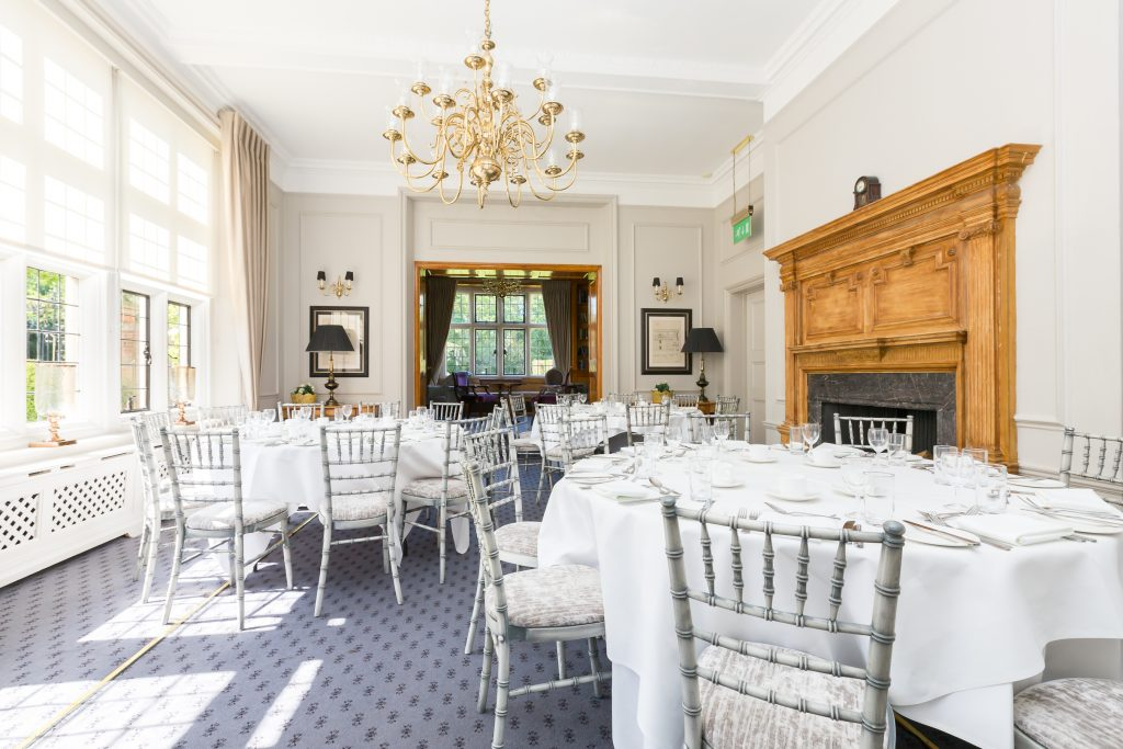 Private dining room set for 30 people at Essex Restaurant